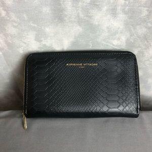Adrianne Vittadini faux snake black zipper wallet